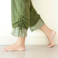Comfy Drawstring Cotton Pants in Green by oOlives on Etsy