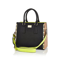 Black contrast panel neon strap tote bag - shopper / tote bags - bags / purses - women