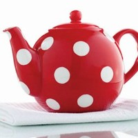 Red Polka Dot Handpainted Earthenware 44oz Teapot