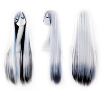 "MapofBeauty 40"" 100cm White/Blue/Black Long Straight Cosplay Costume Wig Fashion Party Wig"
