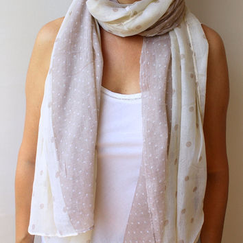 Polka Dot Infinity Scarf Soft Cotton Cream Light Mocha Spring Fashion Women Loop Circle Scarf Chiffon Scarf