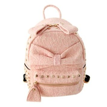 Floral Lace Sweet Girl Rivets School Bag Rucksack Backpack