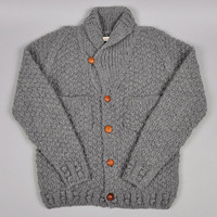 HAND KNIT CHUNKY WOOL CARDIGAN, GREY :: HICKOREE'S HARD GOODS