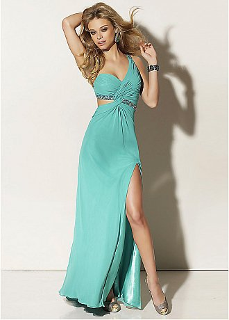 Buy Elegant Chiffon Sheath Full Length One Shoulder Long Prom Dress/Evening Dress