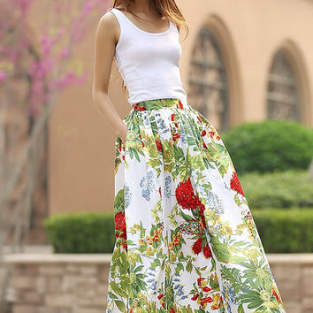 floral print skirt woman cotton skirt custom made maxi skirt new long skirt  (951)