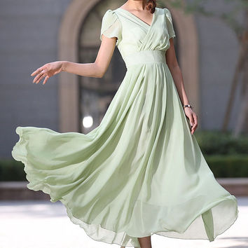 light green dress woman maxi chiffon dress custom made  party dress (990)