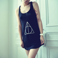 Black Deathly Hallows Tee by dresslikeaunicorn on Etsy
