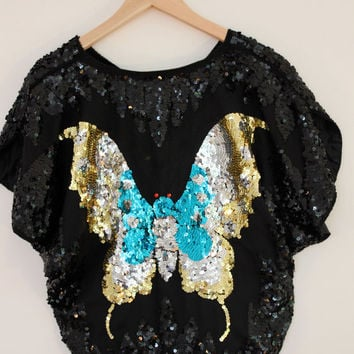 Vintage Embellished Sequinned Butterfly Top - Black / Gold / Blue - UK 8 - 12