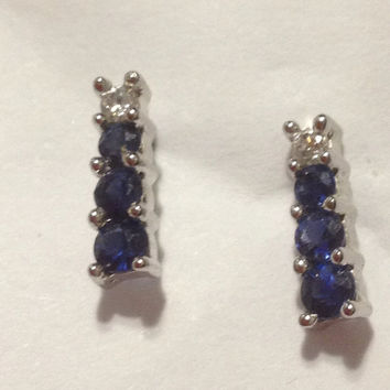 Sapphire Diamond Earrings 10K White Gold 1 TCW Blue Sparkly Vintage Jewelry Bridal Wedding Prom Birthday Anniversary Gift Dangling 14KT