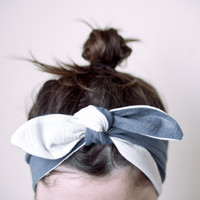 indian headband blue & white reversible by nanoutriko on Etsy