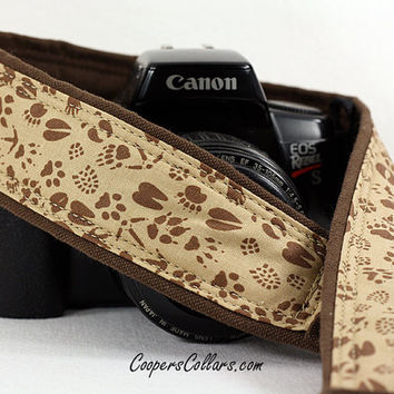 Footprints Camera Strap, dSLR, SLR, Brown &Tan, Tracks, Deer, Turkey, Cat, Wolf, Dog, Raccoon, 166 w