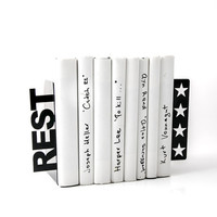 Bookends - REST 4 stars - for home or public library, black, laser cut from metal thick enough to hold a bunch of books