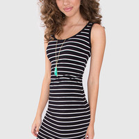 Just A Stripe Dress - Black