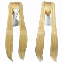 "MapofBeauty 48"" Straight Cosplay Wig + 2 Clip On Ponytails"