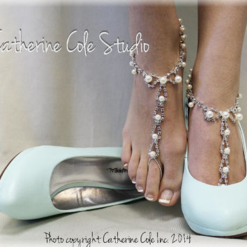 PARISIAN pearls rhinestones elite Barefoot sandals wedding shoes bridal bridesmaid prom beach wedding Shoe Jewelry Catherine Cole Studio SJ2
