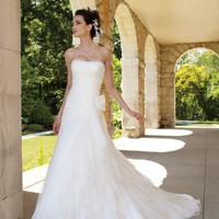 Romantic Hot Sell Strapless Beading Bow Chapel Train Organza Wedding Dresses Bridal Gowns