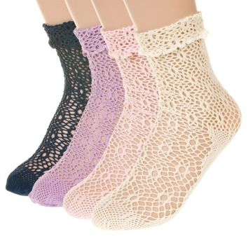 Womens Ladies Feminine Retro Net Lace Socks Lolita Punk Goth Kawaii