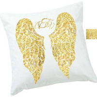 18 x 18, Personalized GOLD Angel Wings with Overlapping monogram White Canvas Pillow Cover -  gift for any Free spirit