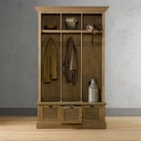 Shutter Weathered Oak 3-Bin Entry Locker | Shelving & Cabinets | Restoration Hardware