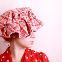 Red cloche hat Floppy hat Red hat Summer hat Fabric hat by mynoush