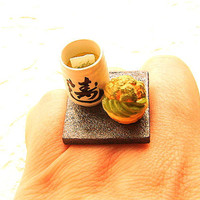 Green Tea Cup Cream Puff Miniature Food Ring by SouZouCreations