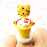Kawaii Food Ring Ice Cream Sundae Tiger by SouZouCreations
