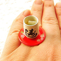 Kawaii Cute Japanese Ring Green Tea by SouZouCreations on Etsy
