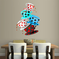 Full Color Wall Decal Mural Sticker Decor Art Poster Cartoon Kitchen Cups Alice in Wonderland Cards (col652)