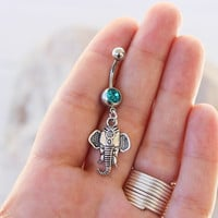 Elephant  Belly Button Ring - Belly Ring - Belly Button Jewelry - Elephant Dangle Belly Ring - Belly Button Piercing - Piercing