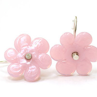 Baby Pink Flower Bead Earrings Handmade Lampwork by susansheehan