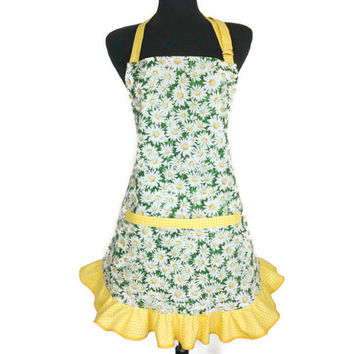 Floral Apron for Women , Daisies with yellow Ruffle , Flower Kitchen Decor