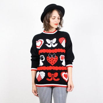 Vintage Cosby Sweater Black Red White Jumper Heart Hearts Print Pullover Bow Sweater Novelty Print Valentines Day Party Knit Sweater L Large