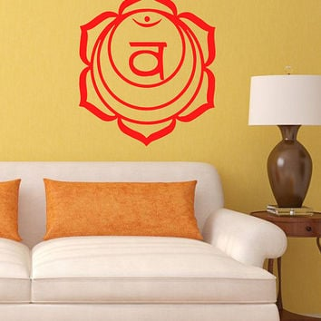 Vinyl Decal Spleen Sacral Chakra Religion Symbol Om Yoga Buddhism Housewares Wall Sticker Art Indian Design Mural Interior Home Decor SV5271