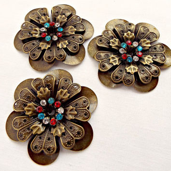 3 Flower Cabochons, 2 Inch Flower, Rhinestone Flower, Red White and Blue, Bronze Flower, Bronze Pendant, Rhinestone Cabochon Pendant
