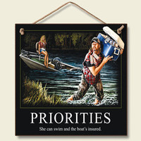 Priorities Wood Wall Sign