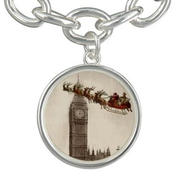 Vintage Santa over London Christmas Charm