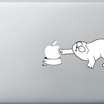 Apple Cat  decal sticker for Macbook  B (11, 13, 15, 17)