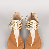 Qupid Agency-330 Strappy Metallic Embellished Gladiator Flat Sandal