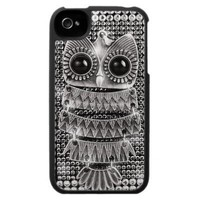 Cute Bling Silver Owl iPhone 4 Case from Zazzle.com