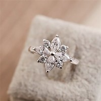 Rhinestone Flower Shape Upper Design Slap-up Ring R0527