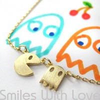 Pac Man Necklace in Light Gold | smileswithlove - Jewelry on ArtFire