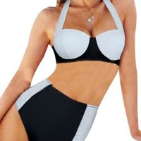 Retro High Waisted Vintage Push Up Bandeau Bikini Set Swimsuits Swimwear