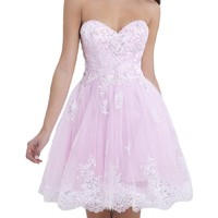 VILAVI Women's A-line Sweetheart Strapless Short Tulle Homecoming Dresses