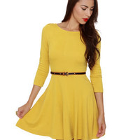 Pretty Yellow Dress - 3/4 Sleeve Dress - Flared Dress 