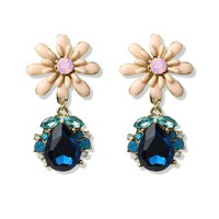 Delicate Pink Daisy and Sapphire Earrings Multi