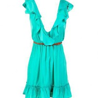 Green Day Dress - Ruffle Belted Dress | UsTrendy