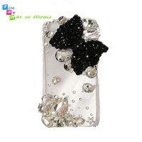Handmade hard case back cover for iPhone 4 & 4S Black by nieleilei