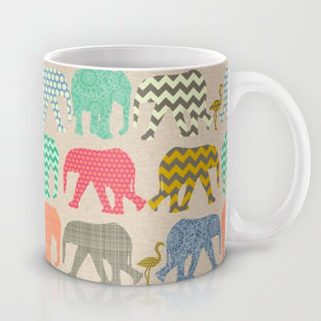 linen baby elephants and flamingos Mug by Sharon Turner | Society6