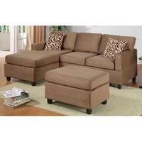 3-PC SECTIONAL SOFA REVERSIBLE MICROFIBER IN SADDLE BY POUNDEX