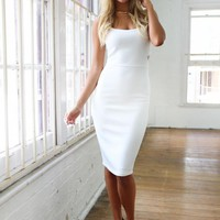 White Mid Length Cut Out Dress